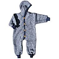 Комбинезон детский из шерстяного флиса с капюшоном на пуговицах COSILANA (Козилана) 100% шерсть цвет Синий Меланж