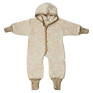 Комбинезон детский из шерстяного флиса с капюшоном на пуговицах COSILANA (Козилана) 100% шерсть цвет Латте Меланж